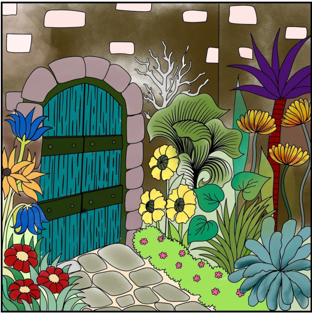 A Picture Of A Garden That I Have Coloured In.