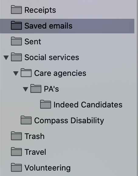 Screenshot Of Email Folders I've Created