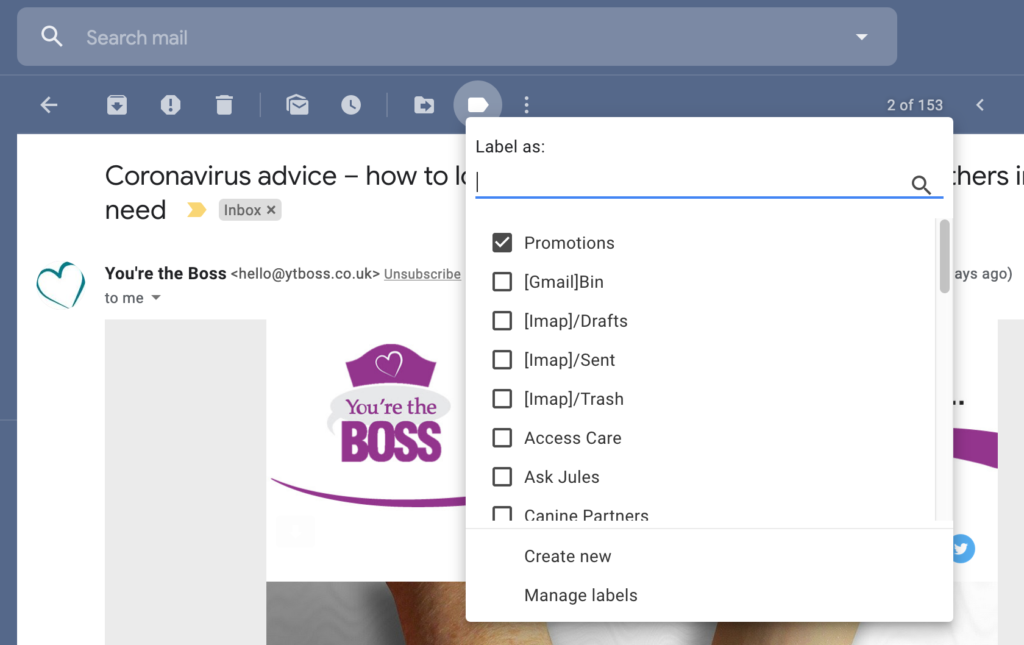 Screenshot, How To Add Labels/Folders In Gmail